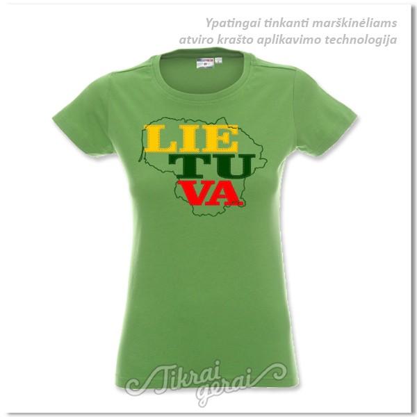 Marškinėliai moteriški Lietuva aplikacija, v.1